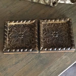 2 Carved Wood Wall Decor or Trivets